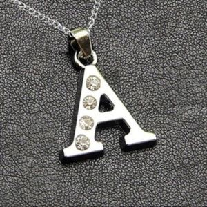 Silver A Initial Rhinestone Necklace